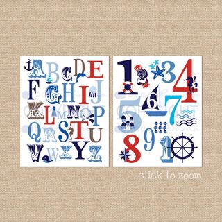 nautical abc 123 print