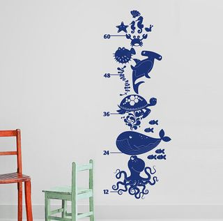 ocean wall decal growth chart